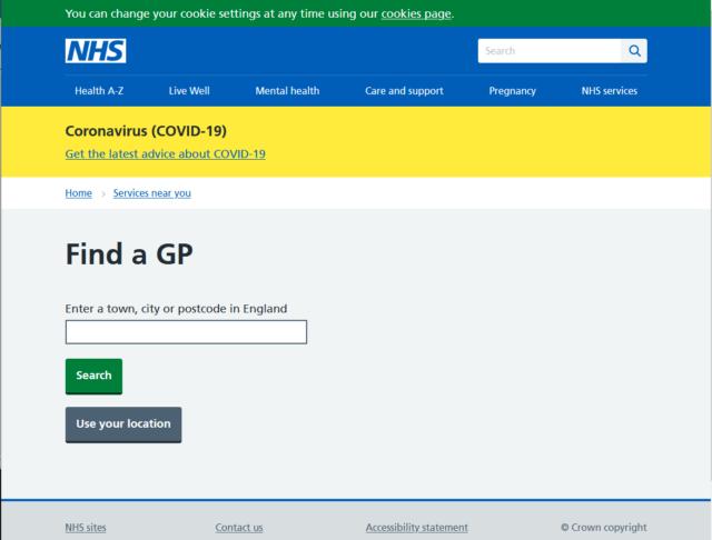 英国NHSサイトのGP検索画面